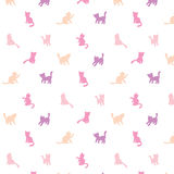 Feminine colorful cats silhouettes pattern Royalty Free Stock Photo