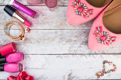 Feminine cosmetic background. Overhead of essentials fashion women objects Royalty Free Stock Images