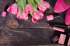 Feminine cosmetic background. Overhead of essentials of a modern woman. Free space for your text.  Royalty Free Stock Photos