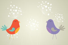 Feminine design of dandelions and birds Stock Image