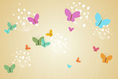 Feminine design of dandelions and butterflies Stock Photography