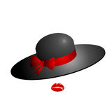 Feminine elegant classical glamorous women in black hat with a r. Ed bow. Visible only her lips bright red. Illustration on white background Royalty Free Stock Images