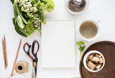 Feminine Flatlay With Flowers And Ccoffee Stock Image