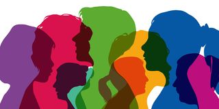 The feminine gender symbolized by the superposition of different profiles. Diversity concept, with colorful silhouettes, showing different profiles of women at stock illustration