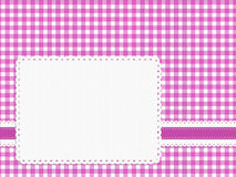 Feminine girly bright pink check gingham fabric background with. Pretty nineteen fifties inspired background. Retro. With copyspace label Stock Photography
