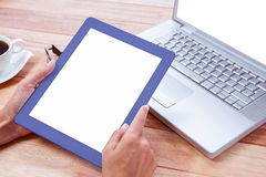 Feminine hands holding tablet Royalty Free Stock Photography