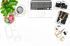 Feminine home office desk Business Hero header social media Stock Photography