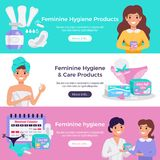 Feminine Hygiene Flat Banners royalty free illustration