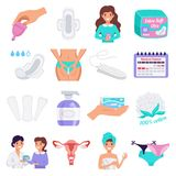 Feminine Hygiene Flat Set royalty free illustration