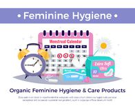 Feminine Hygiene Products Composition vector illustration