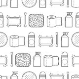 Feminine hygiene. Seamless pattern with cosmetics. Vector Royalty Free Stock Photos