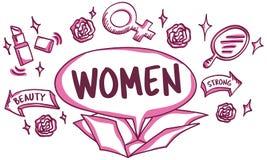 Feminine Icons Symbols Outside Box Sketch Concept Stock Photography