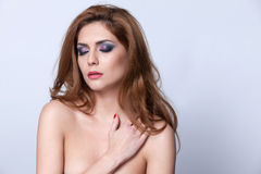Feminine intimacy. Very beautiful topless woman with gorgeous make-up, eyes closed Royalty Free Stock Photography