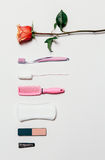 Feminine intimate hygiene set over white background Stock Photos