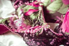 Feminine lacy underclothes background Royalty Free Stock Image