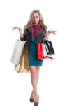 Feminine lady carrying shopping bags Royalty Free Stock Images