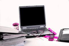Feminine laptop workspace Royalty Free Stock Photos