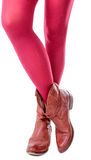 Feminine legs with colored tights and shoes Stock Photos