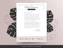 Feminine letterhead cover letter design template. Elegant stylish beige pink color background with monstera leaves vector illustration Royalty Free Stock Photo