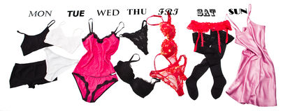 Feminine lingerie for each week day Royalty Free Stock Photos