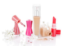 Feminine Make up and Cosmetics still life. Stock Photos