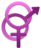 Feminine-Male symbol. Feminine male symbol in white background, easy to isolate stock illustration