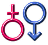 The feminine-male symbol. Feminine male symbol in white background Stock Photos