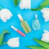 Feminine perfume, cream, lipstick and white tulips flowers on blue background. Beauty blog. Flat lay, top view. Feminine perfume, cream, lipstick and white Stock Image