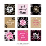 Feminine pink floral greeting cards with inspirational quotes. M. Odern calligraphy and lettering. Hand drawn design elements. Vector illustration Stock Photo