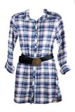 Feminine plaid shirt and leather belt Royalty Free Stock Photo