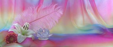 Feminine Rainbow Chiffon Feather and Flower Holistic Background - Stock Image
