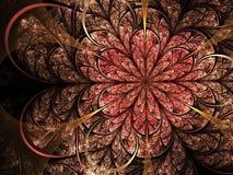 Feminine red fractal flower. Digital artwork for creative graphic design Royalty Free Stock Photos