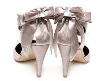 Feminine satin loafers Royalty Free Stock Images