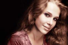 Feminine sensual woman with beautiful hair royalty free stock photography