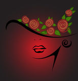 Feminine silhouette in a hat with red roses. On a black background Royalty Free Stock Image