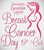 Feminine Silhouette with Precepts. Poster with beautiful feminine silhouette for special date in October 19: Breast Cancer Day celebration Royalty Free Stock Image