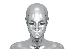 Feminine silver cyborg Stock Photography