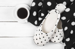 Feminine slippers, knitwear and coffee Stock Photography