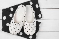 Feminine slippers and scarf Royalty Free Stock Image