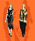 Feminine style fashion. Orange background feminine elegant style womans sketch Royalty Free Stock Photos