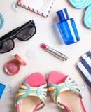 Feminine summer set of accesories Stock Image