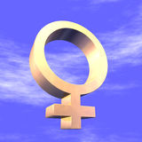 Feminine Symbol 3d. Fenine symbol of gold for a blue sky Stock Photo