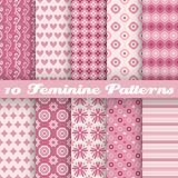Feminine vector seamless patterns (tiling). Fond. 10 Feminine vector seamless patterns (tiling). Fond pink and white colors. Endless texture can be used for stock illustration
