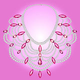 Feminine vintage necklace with pink gems Royalty Free Stock Photography
