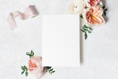 Free Feminine Wedding, Birthday Stationery Mock-up Scene. Blank Paper Greeting Card With Bouquet Of Green Leaves, Blush Pink Stock Image - 150139671