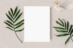 Feminine wedding stationery mock-up scene. Blank greeting card, green palm leaves and silk ribbon on beige textured. Table background, tropic summer styled royalty free stock image