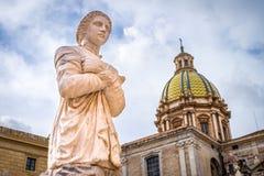 Feminine white stone statue in a Palermo square, Sicily royalty free stock image