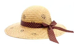 Feminine women's straw hat Royalty Free Stock Image