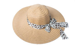 Feminine women's straw hat with the ribbon on white background Stock Photography
