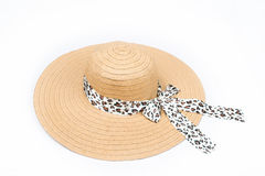 Feminine women's straw hat with the ribbon on white background Stock Photo